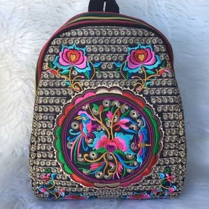 Vintage Hand Embroidered Festival Mini Backpack